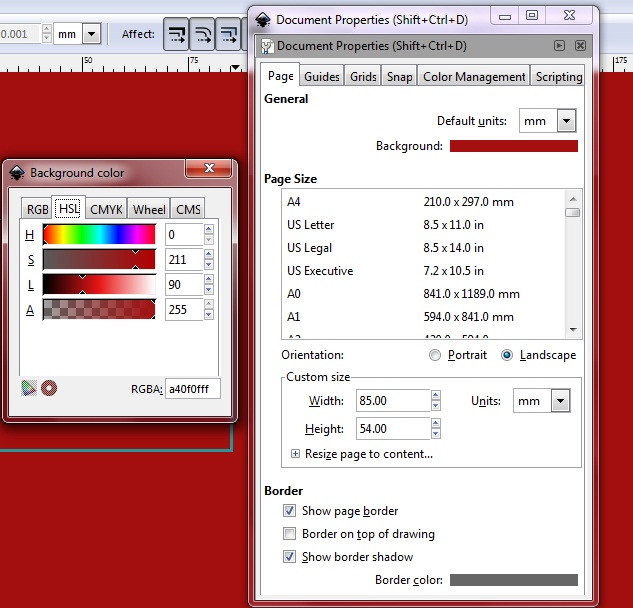 Changing the background color using Document Properties