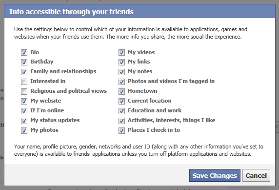 Privacy settings in Facebook Apps