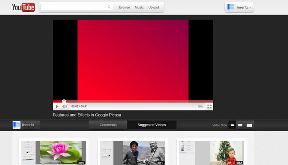 New YouTube 'Cosmic Panda' UI with Video