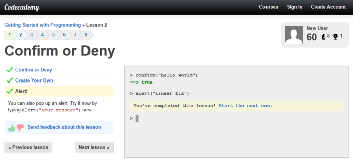 Codecademy lesson